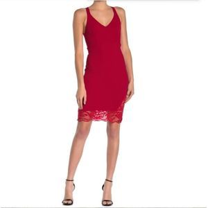 NWT Velvet Torch Red Dress w/ Lace Dress M